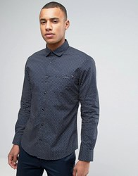 Esprit Slim Fit Long Sleeve Shirt With All Over Ditzy Fit Navy 400
