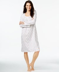 Eileen West Floral Print Lace Trim Nightgown Rose