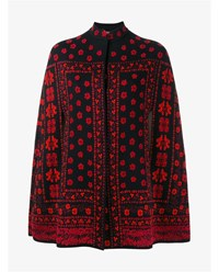 Alexander Mcqueen Wool Silk Blend Jacquard Cape Black Red Mandarin