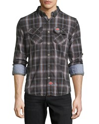 Superdry Grindleshawn Plaid Cotton Shirt Storm Black Check