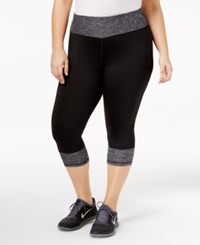 49ec0451996587 Ideology Plus Size Rapidry Colorblocked Cropped Leggings Created For Macy's  Noir