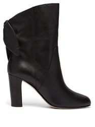 Jimmy Choo Malene 85 Bow Trimmed Leather Boots Black