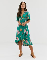 Influence Midi Wrap Dress With Frill In Floral Print Green