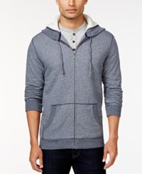 Club Room Sherpa Lined Fleece Hoodie Only At Macy's Navy Blue Marl