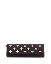 Badgley Mischka Kaylee Satin Rhinestone Clutch Evening Bag Black