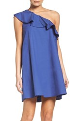 Nsr Women's One Shoulder Ruffle Dress Navy
