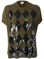 Giamba Sequin Embellished Shortsleeved Jumper Green