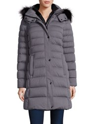 Andrew Marc New York Gayle Fox Fur Trim Down Puffer Coat Grey