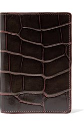 The Case Factory Croc Effect Leather Passport Cover Brown