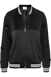 3.1 Phillip Lim Appliqued Wool And Silk Satin Bomber Jacket Black