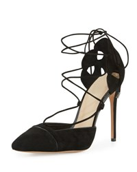 Alexandre Birman Suede And Patent Lace Up Pump Black
