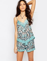 Band Of Gypsies Cami Vest In Scarf Print With Lace Blue