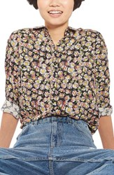 Topshop Women's Daisy Print Shirt Black Multi
