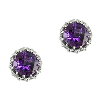 London Road 9Ct White Gold Stud Earrings Purple