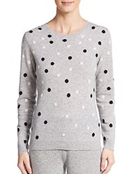 Cashmere Saks Fifth Avenue Polka Dot Cashmere Sweater Light Heather Grey