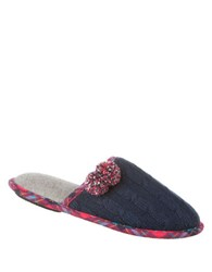 Isotoner Samantha Slip On Slippers Navy Blue