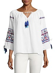 Kas Suzie Embroidered Top White Blue