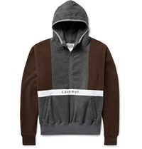 Cav Empt Colour Block Fleece Half Zip Hoodie Dark Brown
