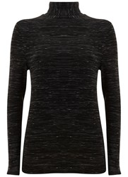 Mint Velvet Black Marl Jersey Polo Neck