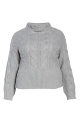 Vince Camuto Cotton Blend Cable Knit Sweater Light Heather Grey