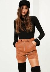 Missguided Tan Double Button Front Bonded Faux Suede Shorts