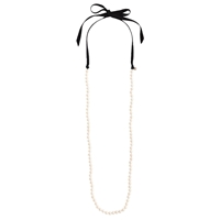 J.Crew Ribbon Tied Long Pearl Necklace White