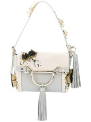 Borbonese Beads Embellished Shoulder Bag Women Cotton Leather One Size Nude Neutrals