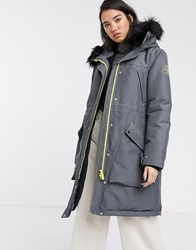 Hunter Original Oversized Waterproof Parka With Faux Fur Hood Trim And Borg Lining Grey