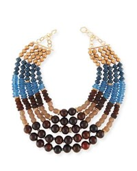 Akola Five Strand Beaded Necklace Blue Brown Blue Brown
