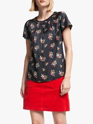 Boden Carey Silk Blend Floral Top Raven Country Posey