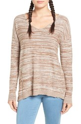 Women's Bp. Marl V Neck Pullover Brown Otter Bella Marl