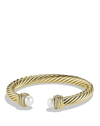 David Yurman Pearl Crossover Bracelet With Pearls And Diamonds In Gold Yellow Gold White