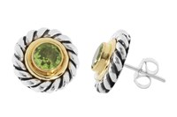 Pomegranate Silver And Vermeil Mix Rope Edge Studs With Peridot