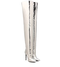 Balenciaga Knife Over The Knee Leather Boots Silver