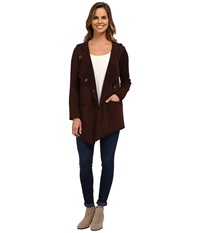 Mod O Doc Contrast Panel Snap Front Hooded Jacket Cocoa Women's Coat Brown