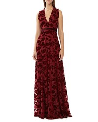 Monique Lhuillier Sleeveless V Neck Patterned Mesh And Velvet Gown Merlot