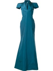 Zac Posen V Neck Gown Green