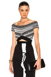 Roland Mouret Reynolds Multi Floral Viscose Knit Top In Abstract Black White Abstract Black White