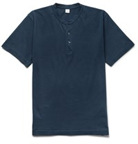 Aspesi Slim Fit Cotton Jersey Henley T Shirt Navy