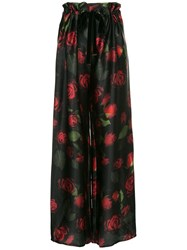 Mother Of Pearl Rose Print Trousers Black