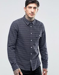 Another Influence Patterned Flannel Shirt Navy