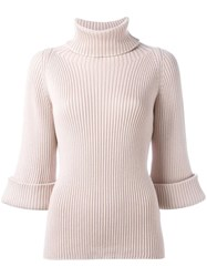 Red Valentino Turtleneck Ribbed Jumper Pink Purple