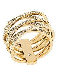Michael Kors Pave Criss Cross Ring Gold