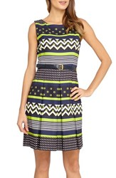 Women's Tahari Print Pleated Fit And Flare With Belt Sailor Blue Citrine