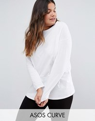 Asos Curve Ultimate Long Sleeved Tunic Oversized T Shirt White