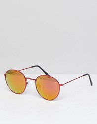 Asos Round Sunglasses In Red Metal With Red Mirrored Lens