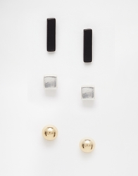 Weekday 3 Pack Stud Earrings Goldsilverblack