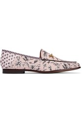 Sam Edelman Loraine Printed Leather Trimmed Canvas Loafers Antique Rose