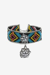 Topshop Seed Bead Rhinestone Drop Choker Necklace Blue