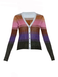 Marco De Vincenzo Striped Lurex Knit Cardigan